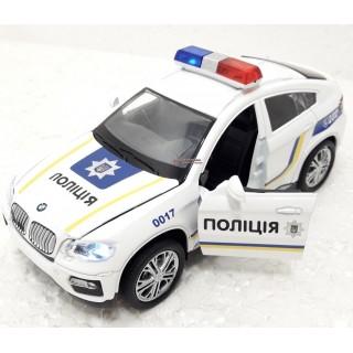 Машина металлическая BMW X6 полиция (свет, звук, на батарейках) Автопром 7844-1