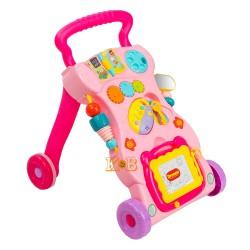 Детский игровой центр музыкальная каталка развивающая игрушка ходунки HE0823 Розовый