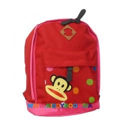 Рюкзак с обезьянкой в углу красный