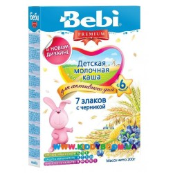 Каша молочная Bebi 7 злаків з чорницею (с 6 мес.) 200 гр.