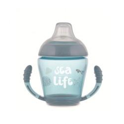 Кружка Canpol непроливайка с мягким силиконовым носиком Sea Life серая 230 мл 56/501_grey