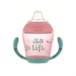 Кружка Canpol непроливайка с мягким силиконовым носиком Sea Life розовая 230 мл 56/501_pin