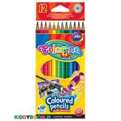 Карандаши цветные акварельные с кисточкой Colorino 33039PTR, 12 цветов