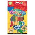 Карандаши цветные круглые JUMBO натуральная древесина 6 цветов с точилкой Colorino 33121PTR