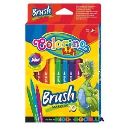 Маркеры с щеткой Colorino 65610PTR, 10 цветов