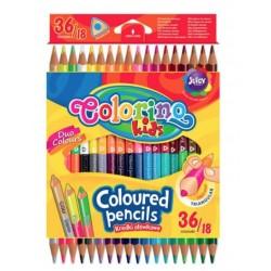 Карандаши цветные треугольные двухсторонние 18 шт х 36 цветов Colorino 68512PTR