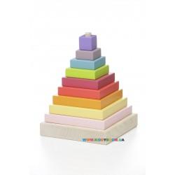 Деревянный конструктор Пирамидка разноцветная LD-5 Cubika 12329