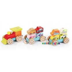 Деревянный поезд с машинками Cubika 13999