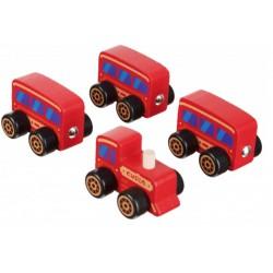 Деревянная игрушка поезд на магнитах Сubika 15375