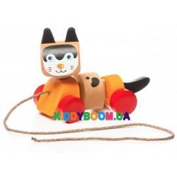 Деревянная игрушка Котик-каталка Cubika 13616