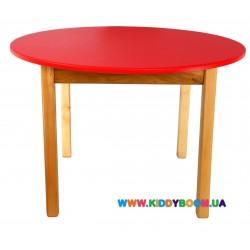Стол деревянный круглый красный Финекс Плюс 034