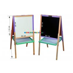 Детский мольберт деревянный цветной раздвижной Финекс Плюс 041