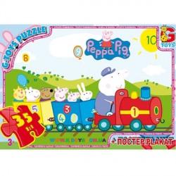 Пазлы Свинка Пеппа на поезде, 35 элементов G-Toys PP001