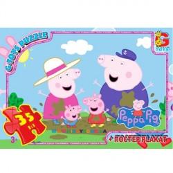 Пазлы Свинка Пеппа в луже, 35 элементов G-Toys PP004