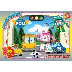 Пазлы Робокар Полли с мячом, 70 элементов G-Toys RR067435