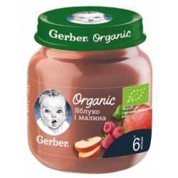 Фруктовое пюре Gerber Яблоко, малина organik с 6-ти мес., 125 гр.