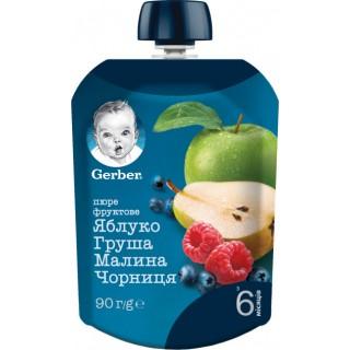 Фруктовое пюре Gerber Яблоко, груша, малина, черника с 6 месяцев 90 г (Пауч)