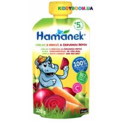 Детское пюре Hame Hamanek Pouch яблоко, морковь и свекла (с 5-ти мес.) 120 г
