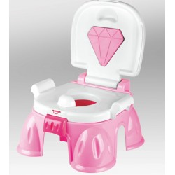 Детский горшок-подставка музыкальный 3в1 бриллиантом HE0807 Розовый