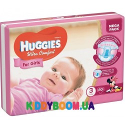 Подгузники для девочки Huggies Ultra Comfort Mega 3 (5-9 кг) 80 шт.