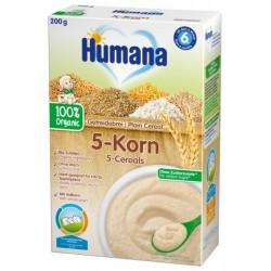 Безмолочная каша цельнозерновая Humana Plain Cereal 5-Cereals 5 злаков 200 г