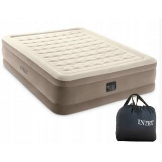 Надувная велюровая кровать Intex 64428 со встроенным электро насосом 152 х 203 х 46