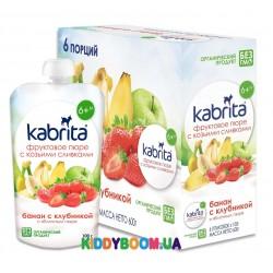 Фруктовое пюре со сливками козьего молока Kabrita Банан + клубника + ябл. пюре с 6 мес. (100г) KP30000197