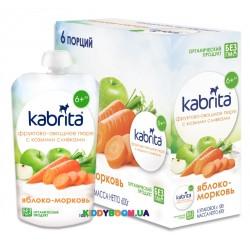 Фруктово-овощное пюре со сливками козьего молока Kabrita Яблоко-морковь с 6 мес. (100 г) KP30000198