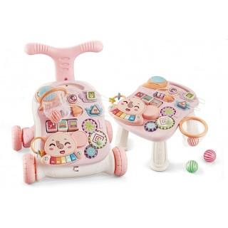 Ходунки каталка игровой центр столик  2в1 Musical Stroller N6038 розовый