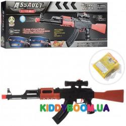 Автомат (гидропули, мягкие пули-присоски 3 шт) 67 см в коробке AK47-1