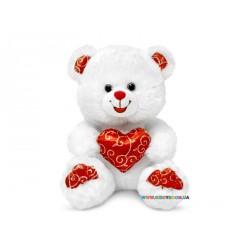 Медвежонок белый блестящий с сердцем музыкальный Lava LF1060