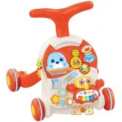 Ходунки каталка игровой центр столик  Веселый Бизиборд  2 в 1 HB0008 Limo toy Оранжевый