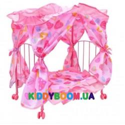 Кроватка для куколки Melogo металлическая с балдахином 9350 E