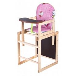 Деревянный стульчик для кормления трансформер Наталка Зайчик розовый (Hello Kitty)