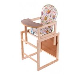 Деревянный стульчик для кормления Наталка Зайчик белый (Cовы на ветках)