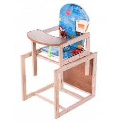 Деревянный стульчик для кормления трансформер Наталка Зайчик синий (Тачки)