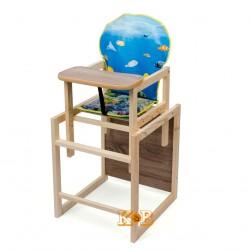 Деревянный стульчик для кормления трансформер Наталка Зайчик голубой (Рыбки)