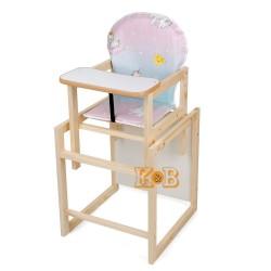 Деревянный стульчик для кормления трансформер Наталка Зайчик розовый с голубым (Единорог)