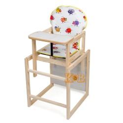 Деревянный стульчик для кормления трансформер Наталка Зайчик белый (Коровки)