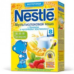 Каша молочная Nestle мультизлаковая с бананом и кусочками земляники садовой (с 8мес)250гр