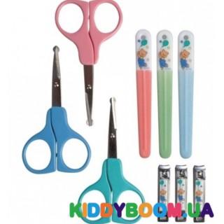 Маникюрный набор ( ножнички, щипчики, пилочка) розовый и голубой 4774 Nuby