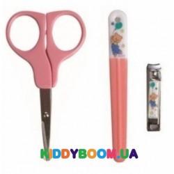 Маникюрный набор Nuby (ножницы, щипчики, пилочка) 4774 pink