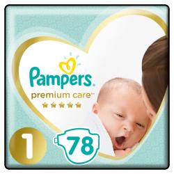 Подгузники Pampers Premium Care New Born Размер 1 (2-5 кг), 78 шт