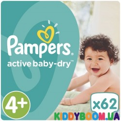 Подгузники Pampers Active Baby Dry 4+ maxi Plus JUMBO PACK (9-16 кг)  62 шт.
