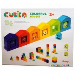 Деревянный конструктор Цветные домики Cubika 14866