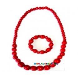 Ожерелье и браслет деревянное Руди Д382ау