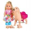 Кукольный набор Эви с собачкой и щенками Steffi & Evi 5733072