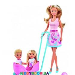 Кукольный набор Штеффи, Эви и Тимми Прогулка двойни с питомцами Steffi & Evi 5733229