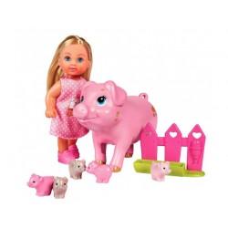 Игровой набор Эви Беременная свинка с поросятами Steffi & Evi 5733337
