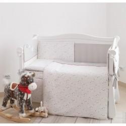 Постельный комплект Twins Premium 6 эл-тов Little Stars, серый/белый P-052